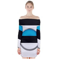 Estonia Country Flag Countries Long Sleeve Off Shoulder Dress