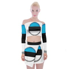 Estonia Country Flag Countries Off Shoulder Top With Mini Skirt Set
