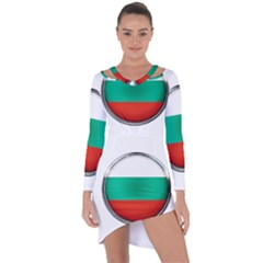 Bulgaria Country Nation Nationality Asymmetric Cut Out Shift Dress