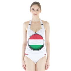 Hungary Flag Country Countries Halter Swimsuit