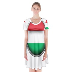 Hungary Flag Country Countries Short Sleeve V Neck Flare Dress