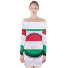 Hungary Flag Country Countries Long Sleeve Off Shoulder Dress