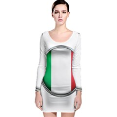 Italy Country Nation Flag Long Sleeve Bodycon Dress