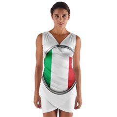 Italy Country Nation Flag Wrap Front Bodycon Dress