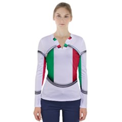 Italy Country Nation Flag V Neck Long Sleeve Top