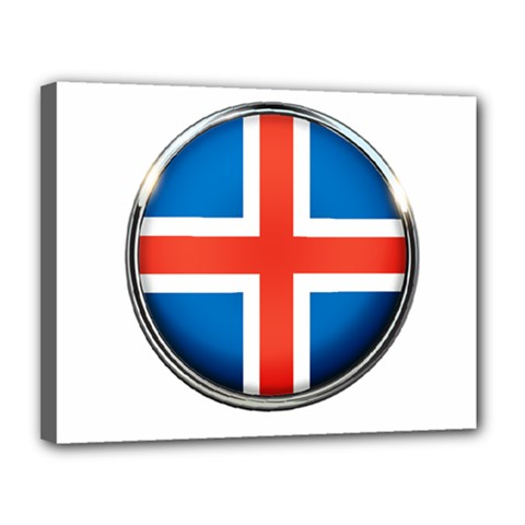 Iceland Flag Europe National Canvas 14  X 11