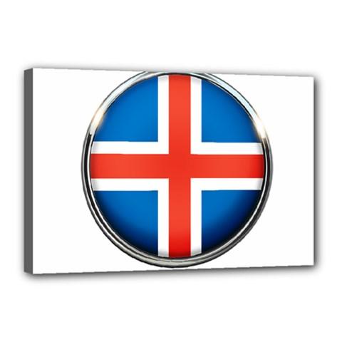 Iceland Flag Europe National Canvas 18  X 12