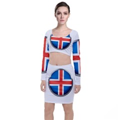 Iceland Flag Europe National Long Sleeve Crop Top & Bodycon Skirt Set