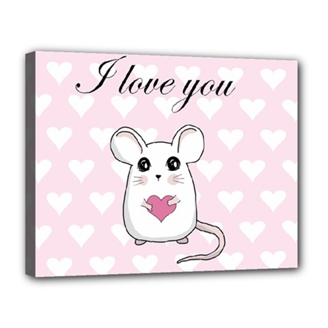 Cute Mouse   Valentines Day Canvas 14  X 11  by Valentinaart