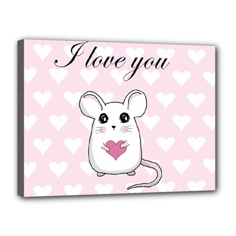 Cute Mouse   Valentines Day Canvas 16  X 12  by Valentinaart