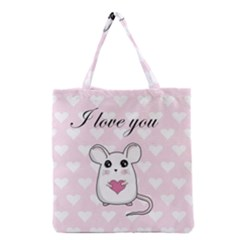 Cute Mouse   Valentines Day Grocery Tote Bag by Valentinaart