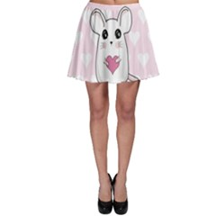 Cute Mouse   Valentines Day Skater Skirt by Valentinaart