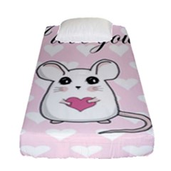 Cute Mouse   Valentines Day Fitted Sheet (single Size) by Valentinaart