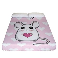 Cute Mouse   Valentines Day Fitted Sheet (queen Size) by Valentinaart