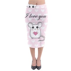 Cute Mouse   Valentines Day Midi Pencil Skirt by Valentinaart