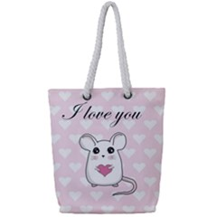 Cute Mouse   Valentines Day Full Print Rope Handle Tote (small) by Valentinaart