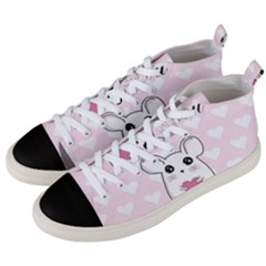 Cute Mouse   Valentines Day Men s Mid Top Canvas Sneakers by Valentinaart
