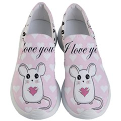 Cute Mouse   Valentines Day Women s Lightweight Slip Ons