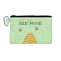 Bee Mine Valentines Day Canvas Cosmetic Bag (medium) by Valentinaart