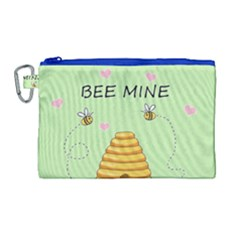 Bee Mine Valentines Day Canvas Cosmetic Bag (large) by Valentinaart