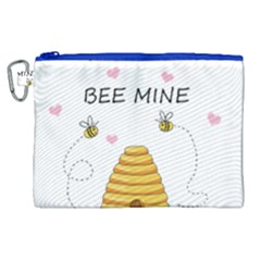 Bee Mine Valentines Day Canvas Cosmetic Bag (xl) by Valentinaart