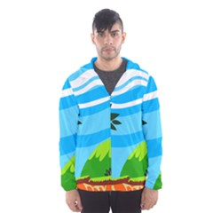 Landscape Background Nature Sky Hooded Wind Breaker (men)