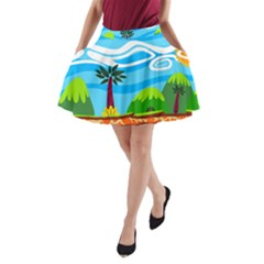 Landscape Background Nature Sky A Line Pocket Skirt