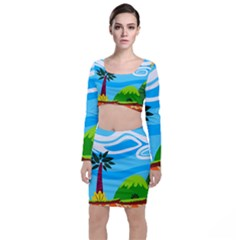 Landscape Background Nature Sky Long Sleeve Crop Top & Bodycon Skirt Set