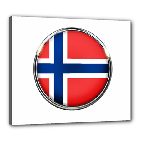 Norway Country Nation Blue Symbol Canvas 24  X 20
