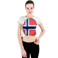 Norway Country Nation Blue Symbol Crew Neck Crop Top