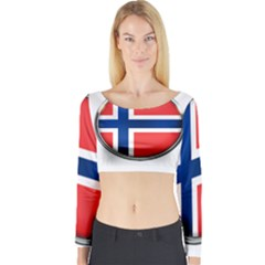Norway Country Nation Blue Symbol Long Sleeve Crop Top