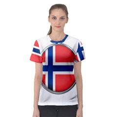 Norway Country Nation Blue Symbol Women s Sport Mesh Tee