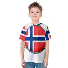 Norway Country Nation Blue Symbol Kids  Cotton Tee