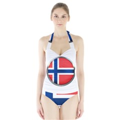 Norway Country Nation Blue Symbol Halter Swimsuit