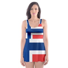 Norway Country Nation Blue Symbol Skater Dress Swimsuit