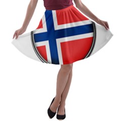 Norway Country Nation Blue Symbol A Line Skater Skirt