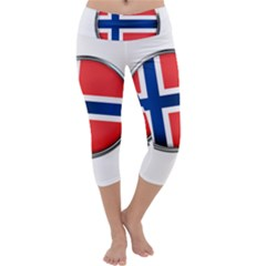 Norway Country Nation Blue Symbol Capri Yoga Leggings