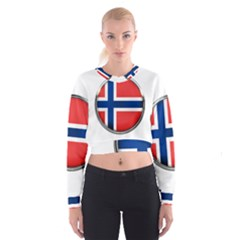 Norway Country Nation Blue Symbol Cropped Sweatshirt