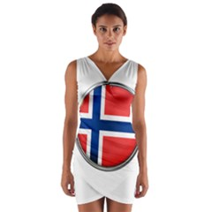 Norway Country Nation Blue Symbol Wrap Front Bodycon Dress