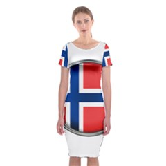 Norway Country Nation Blue Symbol Classic Short Sleeve Midi Dress