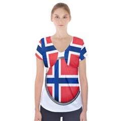 Norway Country Nation Blue Symbol Short Sleeve Front Detail Top