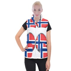 Norway Country Nation Blue Symbol Women s Button Up Puffer Vest
