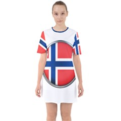 Norway Country Nation Blue Symbol Sixties Short Sleeve Mini Dress