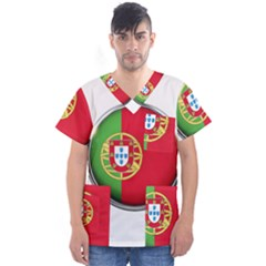 Portugal Flag Country Nation Men s V Neck Scrub Top