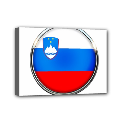 Slovenia Flag Mountains Country Mini Canvas 7  X 5