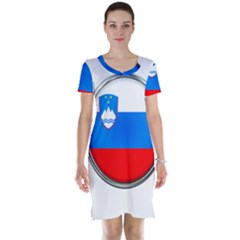 Slovenia Flag Mountains Country Short Sleeve Nightdress