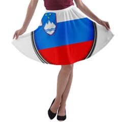 Slovenia Flag Mountains Country A Line Skater Skirt