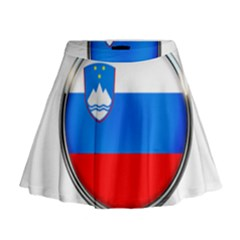 Slovenia Flag Mountains Country Mini Flare Skirt