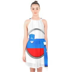 Slovenia Flag Mountains Country Halter Collar Waist Tie Chiffon Dress