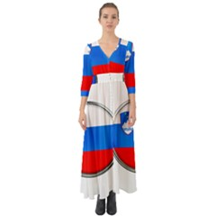 Slovenia Flag Mountains Country Button Up Boho Maxi Dress